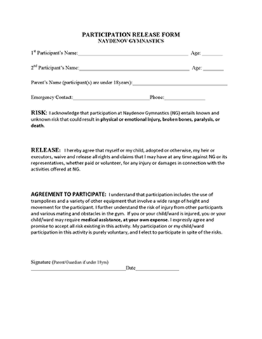 participation waiver template participation release form