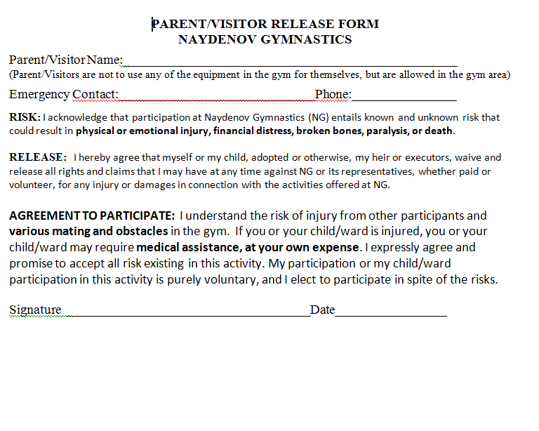 Perfect ***Click On Picture Of Parent/Visitor Release Form Below To Download And  Print***.